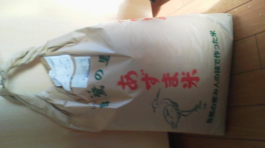 お米が着ました。減農薬米ミルキークィーン